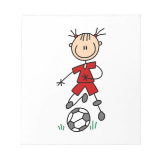 Girl Red Uniform Stick Figure Soccer Player Gifts Memo Pad
