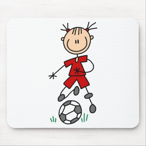 Girl Red Uniform Stick Figure Soccer Player Gifts Mouse Pad