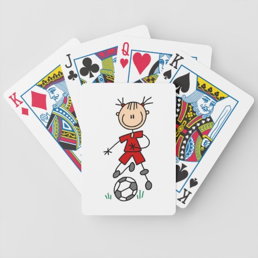 Girl Red Uniform Stick Figure Soccer Player Gifts Bicycle Card Decks