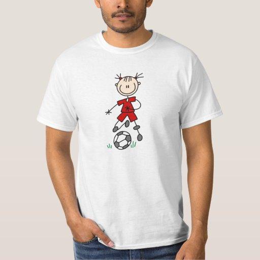 Girl Red Uniform Stick Figure Soccer Player Gifts Tshirt