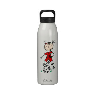 Girl Red Uniform Stick Figure Soccer Player Gifts Drinking Bottles