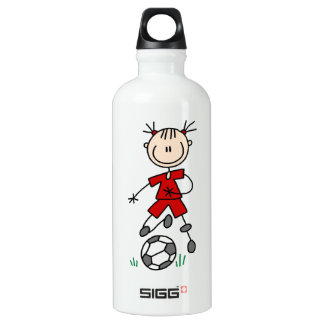 Girl Red Uniform Stick Figure Soccer Player Water Bottle