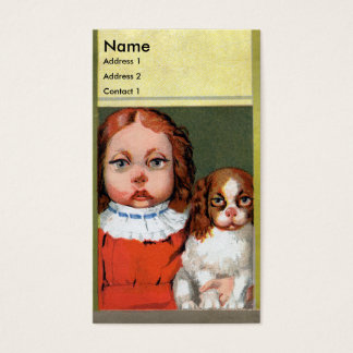 Girl Resembles Her Pet Dog Victorian Business Card