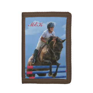 Girl Rider and Show Jumping Horse Trifold Wallet