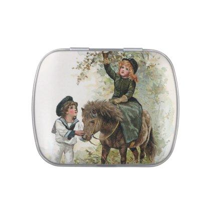 Girl Rides Shetland Pony Vintage Candy Tin