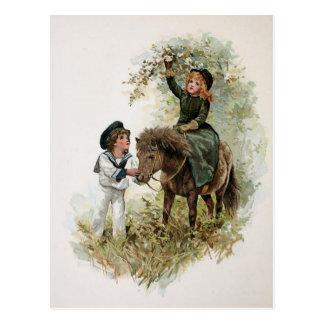 Girl Rides Shetland Pony Vintage Postcard