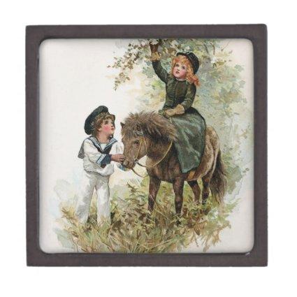 Girl Rides Shetland Pony Vintage Premium Jewelry Boxes