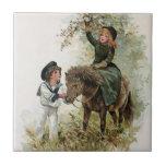Girl Rides Shetland Pony Vintage Small Square Tile