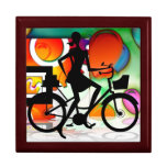 Girl Riding a BikeSilhouette Amid Balloons Gears Jewelry Box