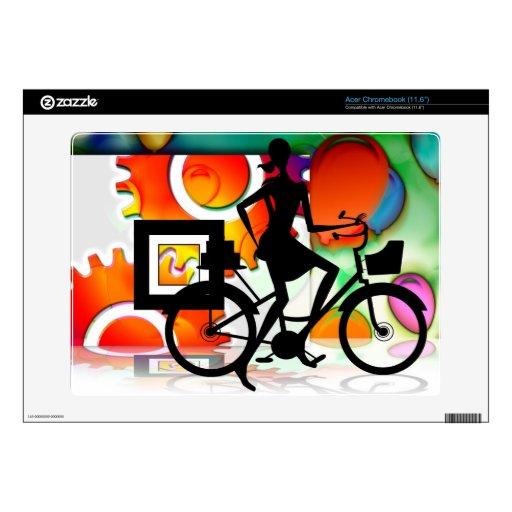 Girl Riding a BikeSilhouette Amid Balloons Gears Acer Chromebook Skin