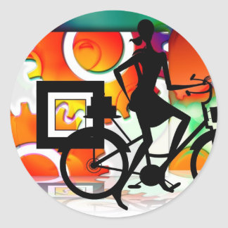 Girl Riding a BikeSilhouette with Gears Balloons Classic Round Sticker
