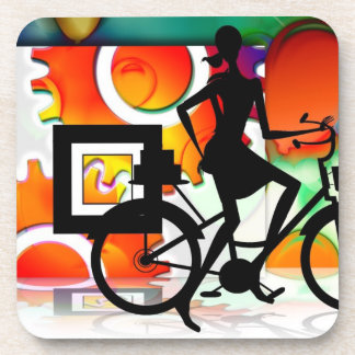 Girl Riding a BikeSilhouette with Gears Balloons Drink Coaster