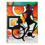 Girl Riding a BikeSilhouette with Gears Balloons Spiral Note Book