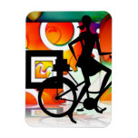 Girl Riding a BikeSilhouette with Gears Balloons Flexible Magnets