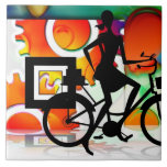 Girl Riding a BikeSilhouette with Gears Balloons Tiles