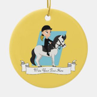 Girl riding a horse cartoon ceramic ornament