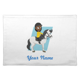 Girl riding a horse cartoon cloth placemat
