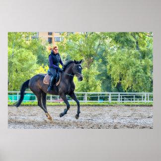 Girl riding a horse poster