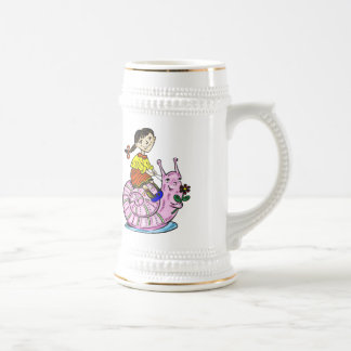Girl Riding A Snail 2 Beer Stein