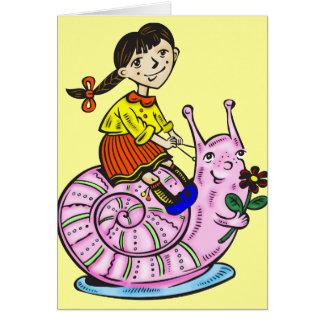 Girl Riding A Snail 2 Card
