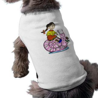 Girl Riding A Snail 2 Pet Tee Shirt