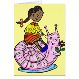 Girl Riding A Snail Card