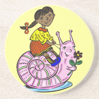 Girl Riding A Snail Coaster