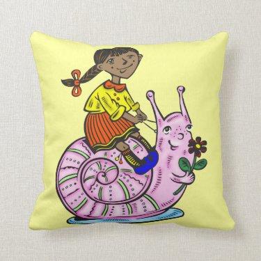 Girl Riding A Snail Pillows
