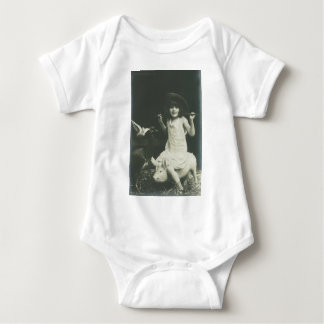girl riding a sow baby bodysuit