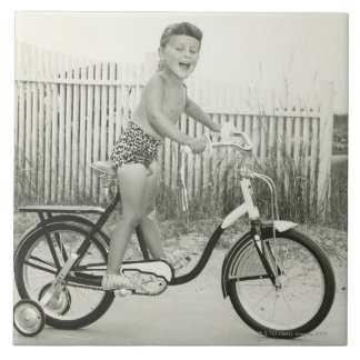 Girl Riding Bicycle Large Square Tile