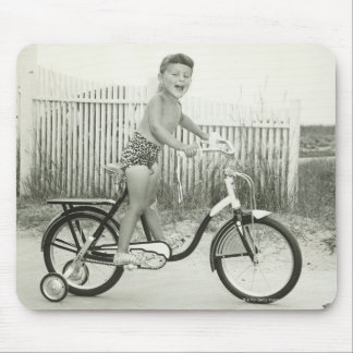 Girl Riding Bicycle Mouse Pad