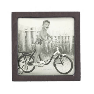 Girl Riding Bicycle Premium Trinket Boxes