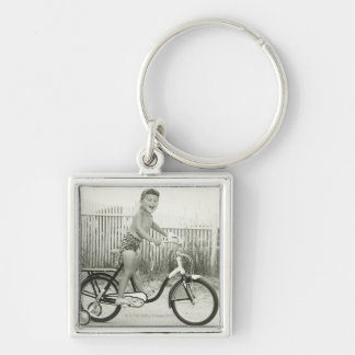 Girl Riding Bicycle Silver-Colored Square Keychain