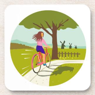 Girl Riding Bicycle Up Tree Circle Retro Drink Coaster