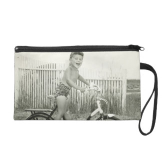 Girl Riding Bicycle Wristlet