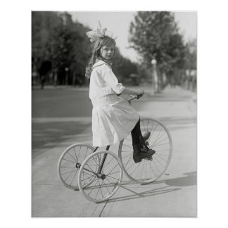 Girl Riding Tricycle, 1917. Vintage Photo Poster