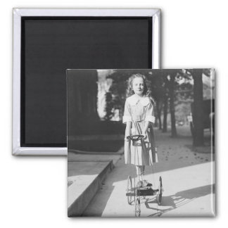 Girl Riding Tricycle, 1918 2 Inch Square Magnet