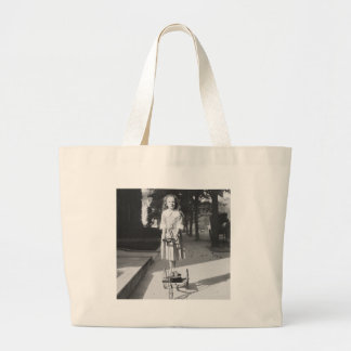 Girl Riding Tricycle, 1918 Large Tote Bag