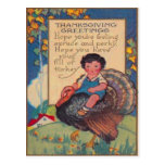 Girl Riding Turkey Postcard