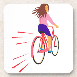 Girl Riding Vintage Bicycle Retro Beverage Coaster