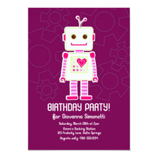 "Girl Robot Birthday Invitations 5"" X 7"" Invitation Card"