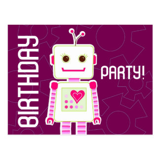 Girl Robot Birthday Party, Postcard Invitations