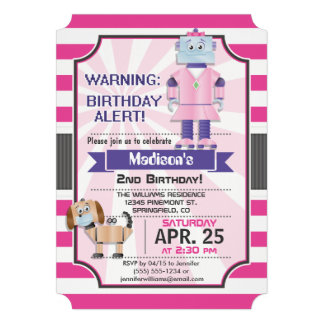 Girl Robot; Pink & White Stripes Birthday Party Announcement