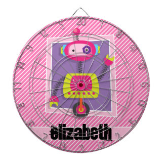 Girl Robot; Pink & White Stripes Dart Boards