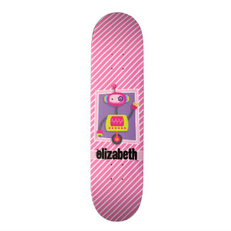 Girl Robot; Pink & White Stripes Skateboard