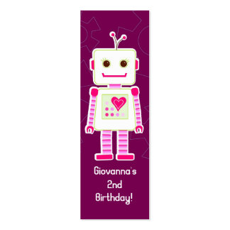 Girl Robot Thank You Gift Tags Mini Business Card