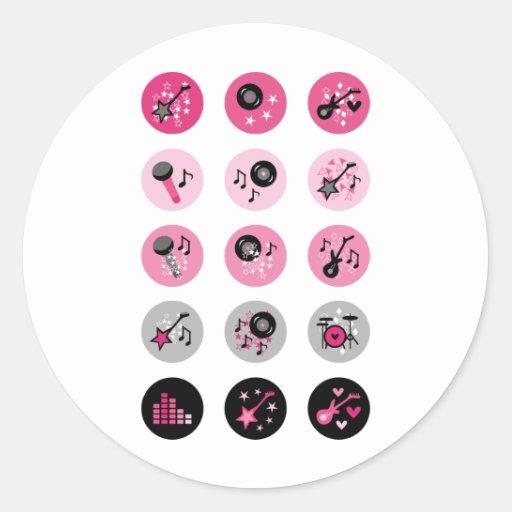"""Girl Rock Star"" Classic Round Sticker"