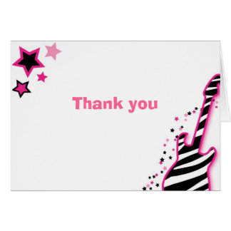 Girl Rock Star Guitar Thank You Note Cards