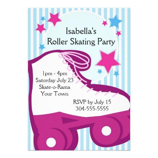 Girl Roller Skating Birthday Party Custom Invitations