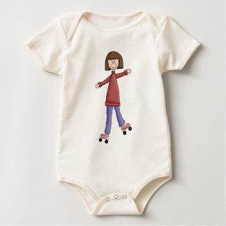 Girl Rollerskating Baby Bodysuit